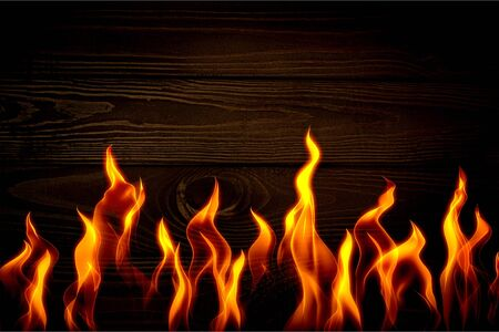 Bright burning wood in a camping on a black background Stock fotó