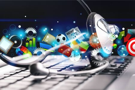 Computer headphones with laptop  on background