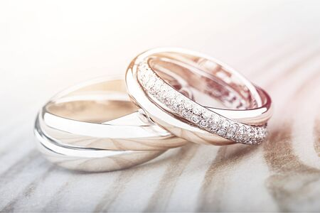 Engagement rings on background close up