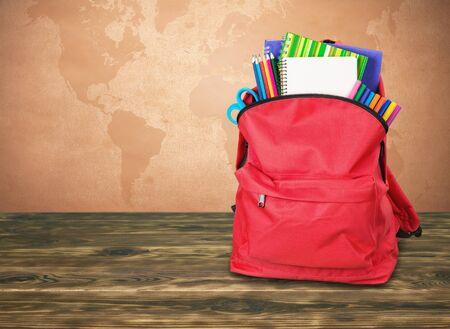 Red School Backpack  on   background. Stok Fotoğraf