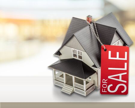 Classic house model on sale on backgrouund