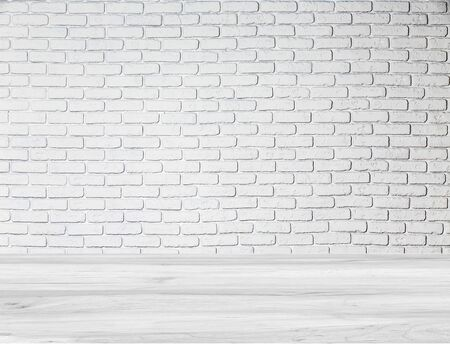 Abstract wallpaper texture stone brick pattern old stucco light gray and aged paint white brick wall background.