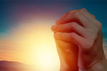The concept of Gods salvation:Human hands open palm up worship