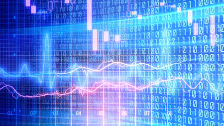 Data analyzing in forex market trading: the charts and summary info for making trading. Charts of financial instruments for technical analysis. Stock trading market background as concept. 免版税图像