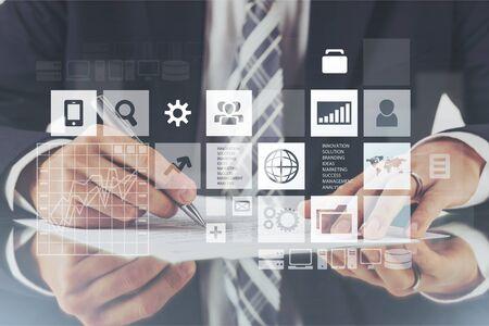 Web design tablet background hosting screen laptop Stockfoto