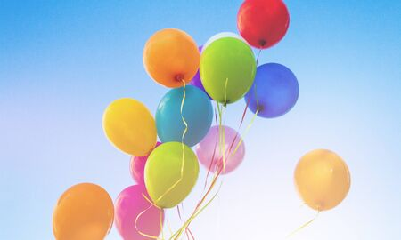 Balloons with the sky as a background