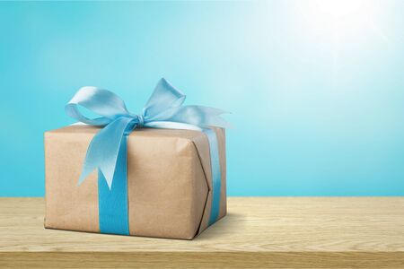Box gift background birthday blank blue bow