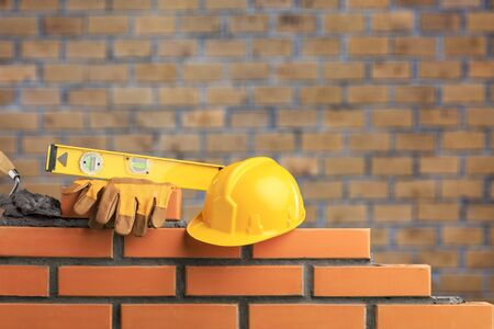 Close up of industrial bricklayer