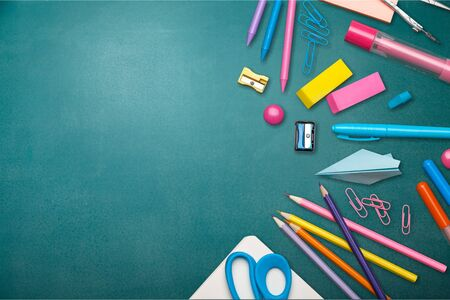 School office supplies on a desk with copy space. Back to school concept. Zdjęcie Seryjne