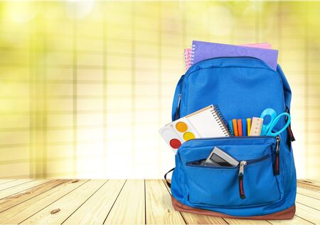 Blue School Backpack  on   background. 版權商用圖片