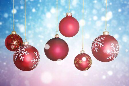 Red shiny decorative Christmas balls on white background Stock Photo
