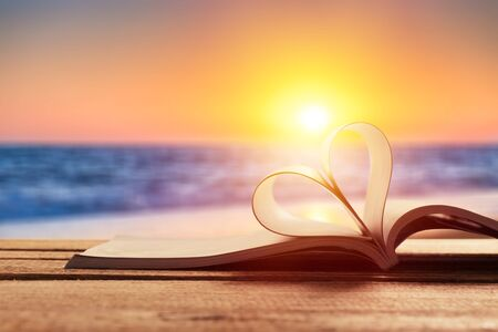 Book heart beach love outdoor literature decoration 스톡 콘텐츠 - 128903435