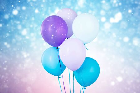 Colorful balloons with happy party