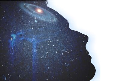 The universe within. Silhouette of a man with the space as a brain. The concept on scientific and philosophical topics. Banco de Imagens