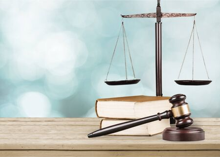 Justice Scales and books and wooden gavel Stok Fotoğraf