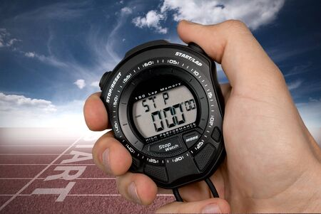 Stopwatch in Human Hand, sport concept Stok Fotoğraf