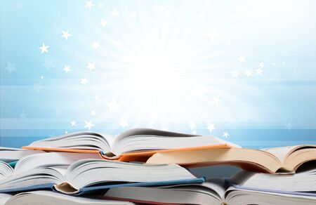 Stack of books isolated on  background. Stok Fotoğraf