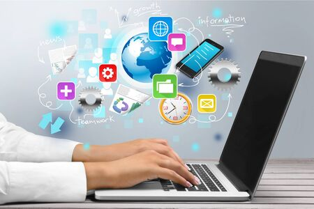 Doctor working on laptop at room, info graphics icon Stok Fotoğraf