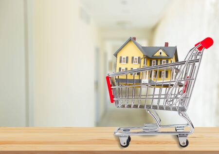 Classic house model in shopping cart on