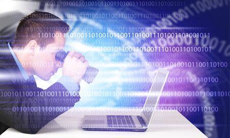 Man searching in laptop. with binoculars Stok Fotoğraf