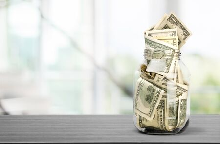 Stack of money on  isolated background