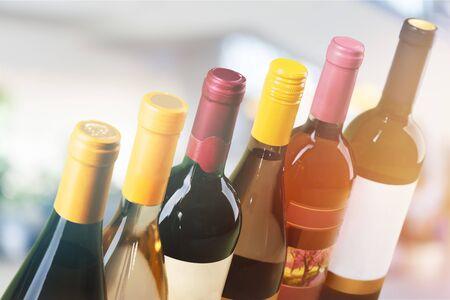 Set six bottles of wine isolated on white background
