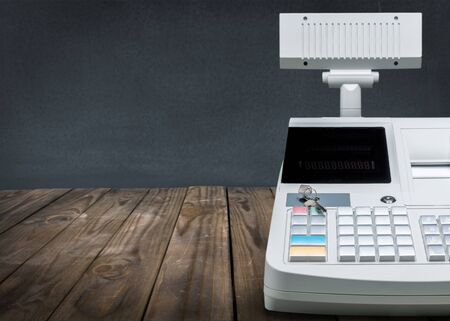 Cash register with LCD display on background