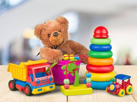 Toys collection isolated on light background Zdjęcie Seryjne