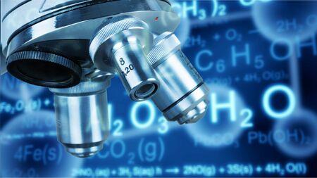 Laboratory equipment on chemistry background 写真素材