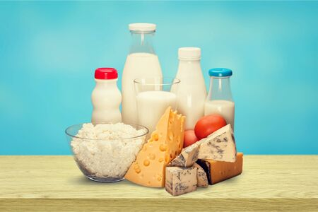 Dairy products collection on green light background Stok Fotoğraf