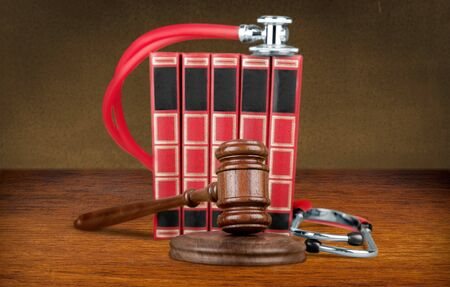 Medicine law concept gavel and stethoscope on Stock fotó