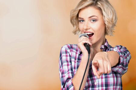Closeup of a female jazz singer on 写真素材