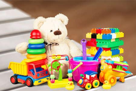 Toys collection on desk 免版税图像