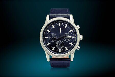 Mens mechanical watch on dark  background 스톡 콘텐츠