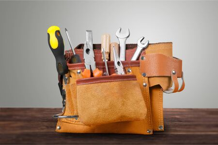 Tool belt with tools on background