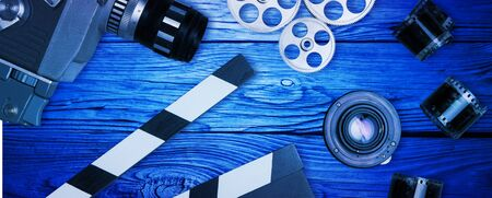 35mm film, reel and movie clapper