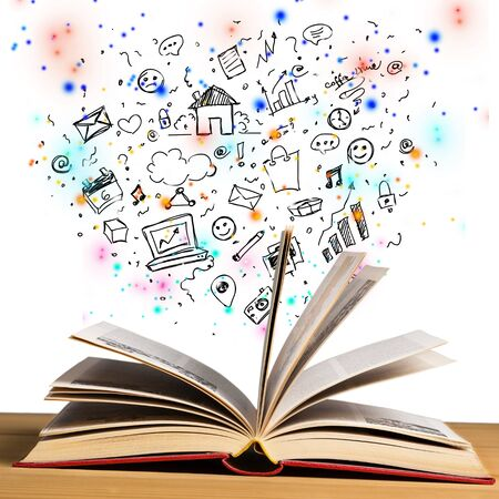 Open book with  drawing on  background