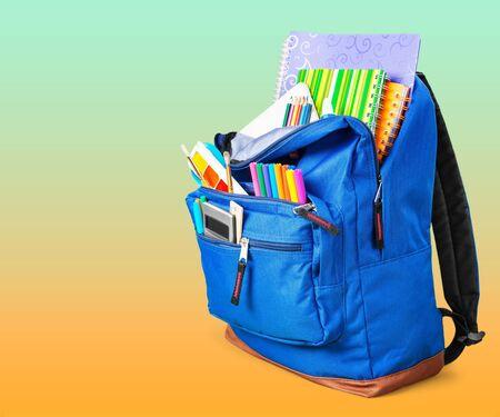 Blue School Backpack on background.