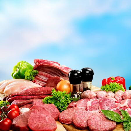 Fresh Raw Meat Background on background