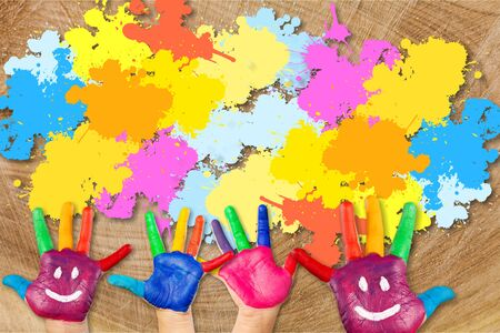 Children painting artwork  concept. kids hands with colors and smiles Stockfoto