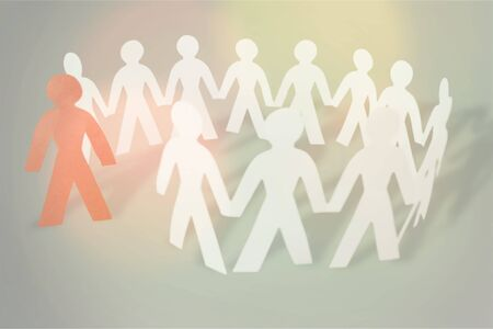 Circle of paper people on white background