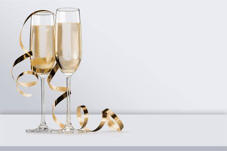 Full glasses of champagne close up.