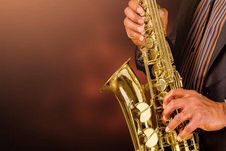 Saxophone player playing jazz music