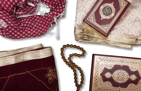 Ramadhan objects. Holy Quran, beautiful beads, prayer