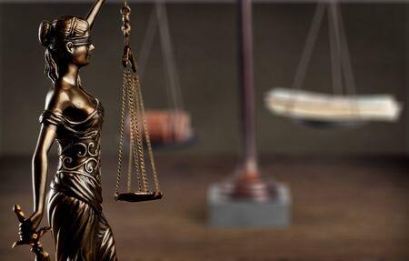 Closeup of a sculpture of Themis, symbol of justice 写真素材