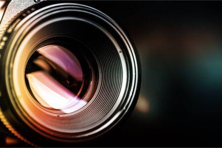 Camera lens shutter, close up Banco de Imagens