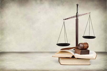 Justice Scales and wooden gavel on table 写真素材