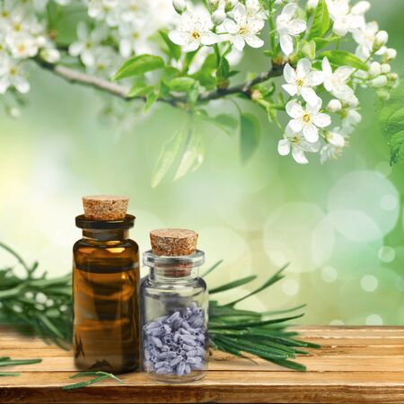 Rosemary essential oil on table 版權商用圖片