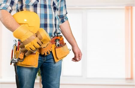 close up view on worker with tools