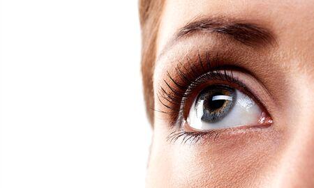 Closeup of mans eye on white background